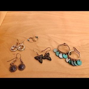 4/$16 Lot of 5 earring pairs blue, sparkly, dangle
